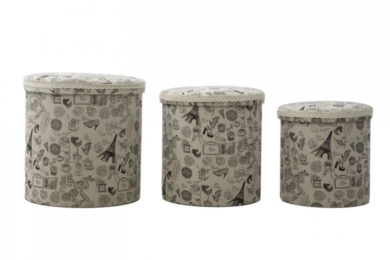 Set 3 cutii cu spatiu de depozitare Paris Multicolor, Ø44xH44 cm / Ø38xH38 cm / Ø34xH34 cm