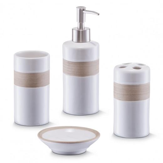 Set 4 accesorii pentru baie din ceramica, Beige / Brown