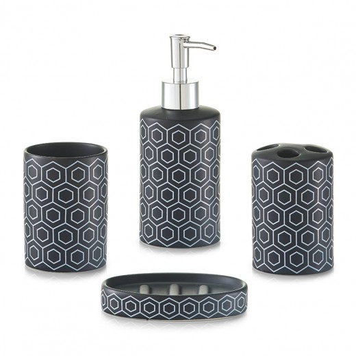 Set 4 accesorii pentru baie din ceramica, Black / White