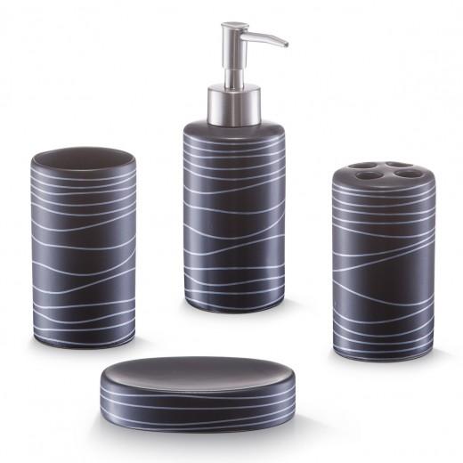 Set 4 accesorii pentru baie din ceramica, Lines Black