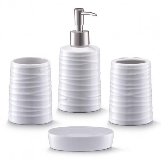 Set 4 accesorii pentru baie din ceramica, White