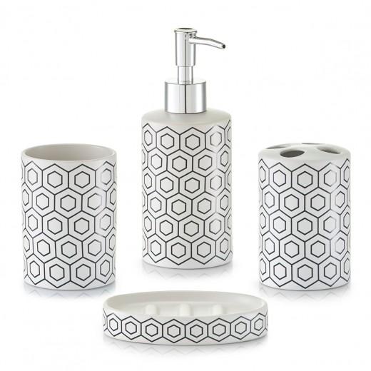 Set 4 accesorii pentru baie din ceramica, White / Black