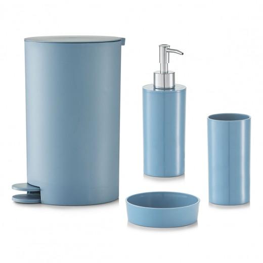 Set 4 accesorii pentru baie din plastic, Blue