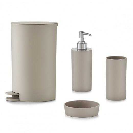 Set 4 accesorii pentru baie din plastic, Taupe