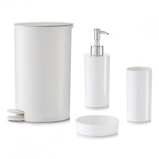 Set 4 accesorii pentru baie din plastic, White