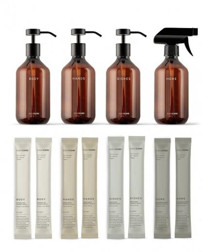 Set 4 dispensere Body & Home cu 8 rezerve, din PET reciclat si ingrediente naturale, Home Duo, 345 ml