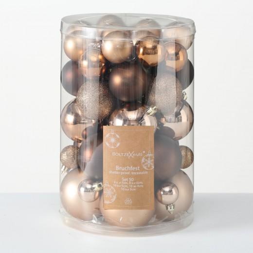 Set 50 globuri pentru brad, din plastic Cosy Maro