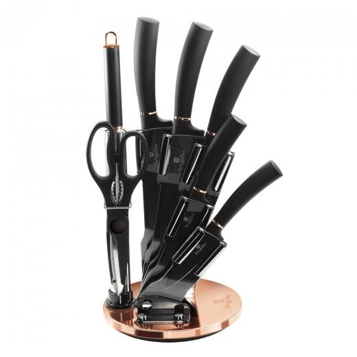 Set 5 cutite otel inoxidabil si invelis din titan, cu suport si accesorii, Black Rose