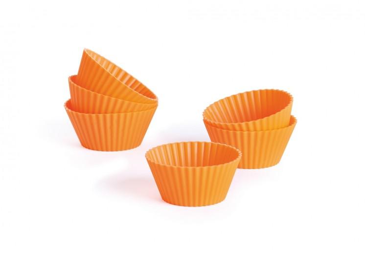 Set 6 fome pentru briose, din silicon, Ø6,5xH3 cm, Sweet Shapes Orange