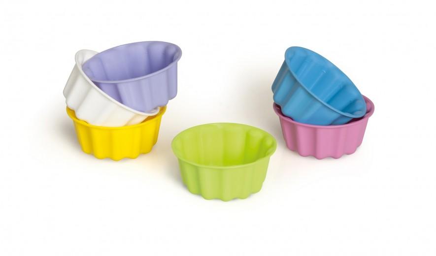 Set 6 fome pentru budinca, din plastic, Ø8 cm, Ultilissimi Asortate