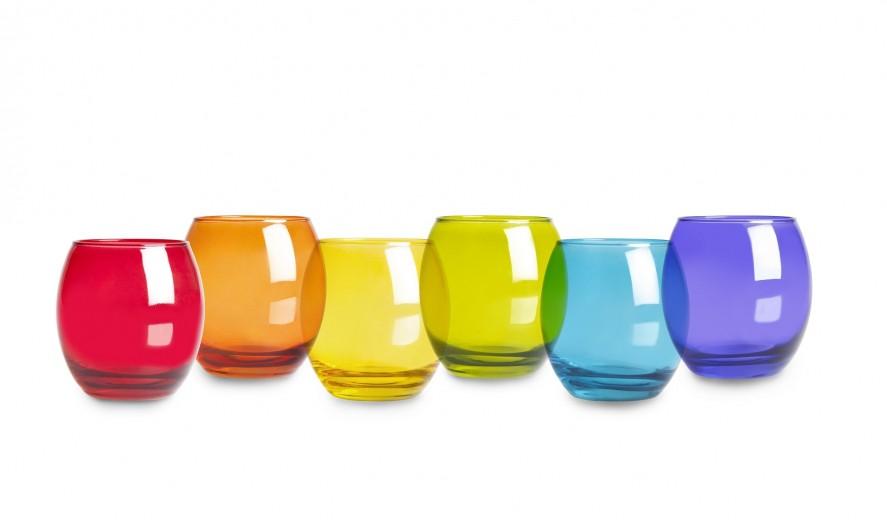 Set 6 pahare din sticla, 405 ml, Ø7xH9,5 cm, San Jose Multicolor