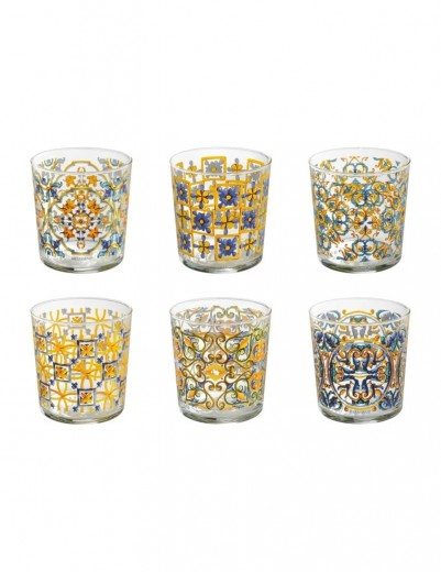 Set 6 pahare din sticla Medicea Multicolor, Ø8,5xH9 cm