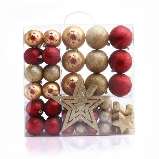 Set 76 globuri si stelute pentru brad, din plastic Susi Gold / Red