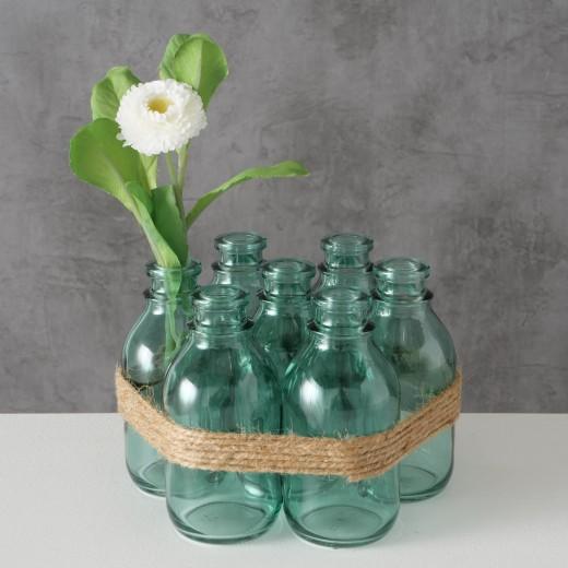 Set 7 vaze decorative din sticla Aliya Verde, Ø17xH11 cm