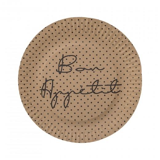 Set 8 farfurii din carton, Bon appetit Maro, Ø23 cm