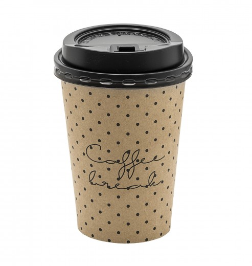 Set 8 pahare cu capac, din carton, Coffee Break Maro, Ø9xH11 cm