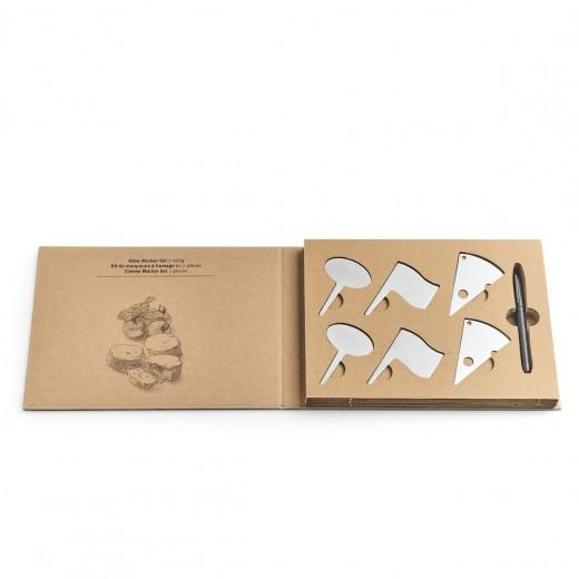 Set accesorii branzeturi din otel inoxidabil + marker in cutie cadou Cheese Crom, 7 piese
