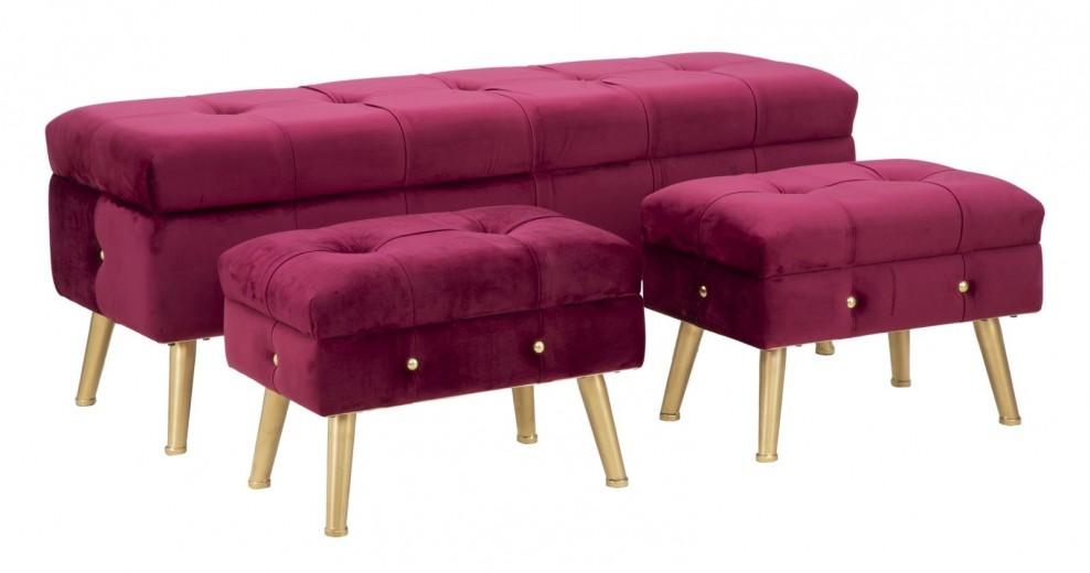 Set banca cu 2 taburete, tapitate cu stofa si picioare metalice Glam Bordeaux, l124xA42xH47,5 cm / l50xA34xH37 cm