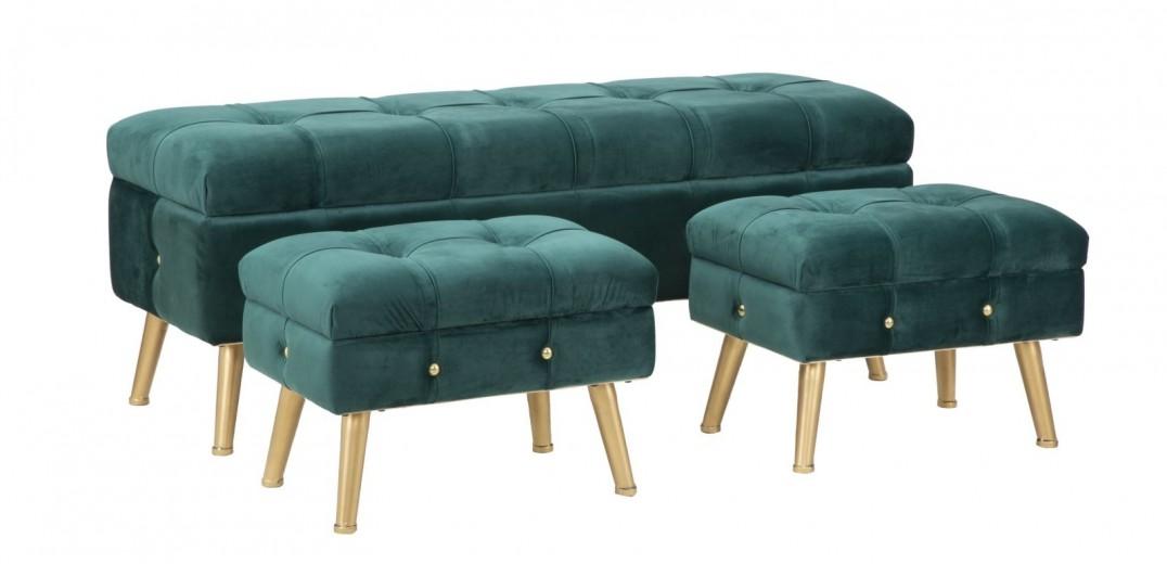 Set banca cu 2 taburete, tapitate cu stofa si picioare metalice Glam Verde, l124xA42xH47,5 cm / l50xA34xH37 cm