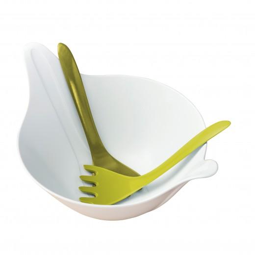 Set bol si 2 ustensile pentru salata, din termoplastic Leaf Alb / Verde, L40,2xl28,8xH20 cm