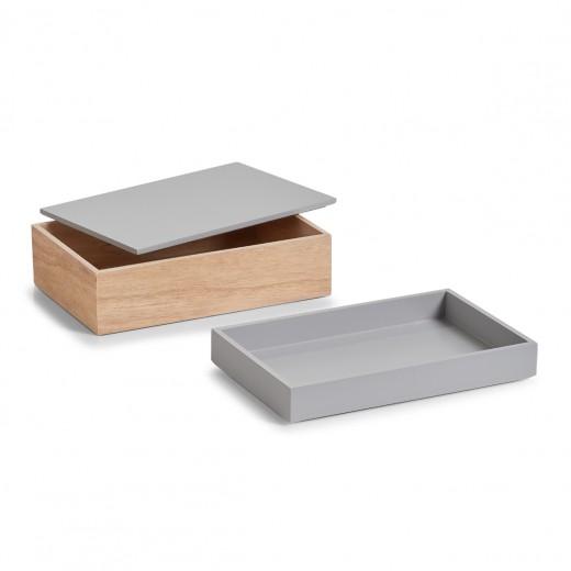 Set Cutii pentru depozitare din lemn, Natural Grey, 2 piese
