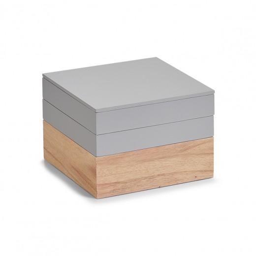 Set Cutii pentru depozitare din lemn, Natural Grey, 3 piese