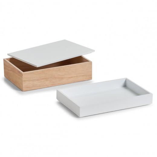 Set Cutii pentru depozitare din lemn, Natural White, 2 piese