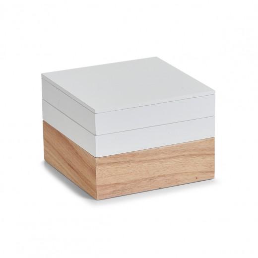 Set Cutii pentru depozitare din lemn, Natural White, 3 piese