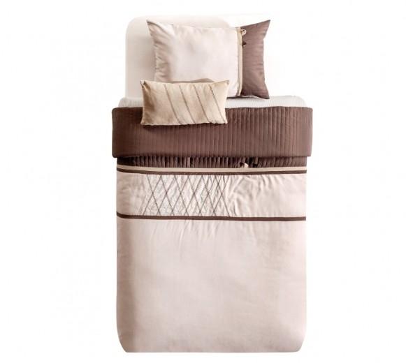 Set cuvertura pat copii si 1 perna decorativa Cool Crem / Maro, 175 x 235 cm