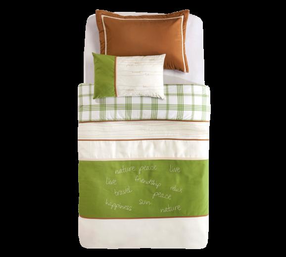 Set cuvertura pat copii si 1 perna decorativa Freedom White / Green