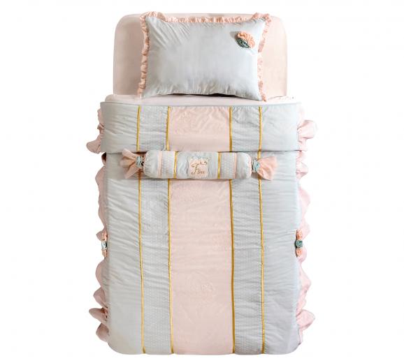 Set cuvertura pat copii si 1 perna decorativa Paradise Turcoaz deschis / Roz