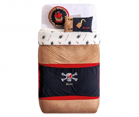 Set cuvertura pat copii si 2 perne decorative Pirate Hook Brown / Black