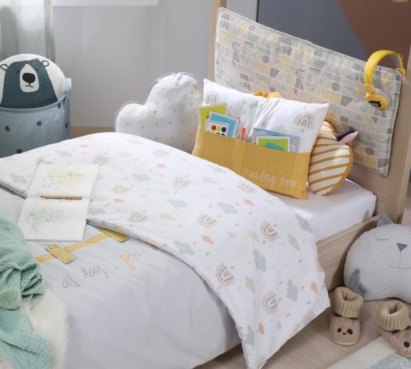 Set cuvertura pentru pat copii si 2 perne decorative Smile Multicolor