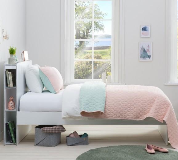 Set cuvertura reversibila pat copii si fata de perna Ducky Pink / Mint, 145 x 230 cm