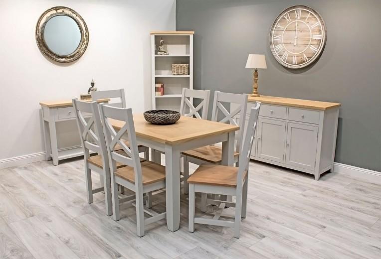 Set de mobila dining din lemn de pin si MDF, 10 piese Ferndale Grey / Oak