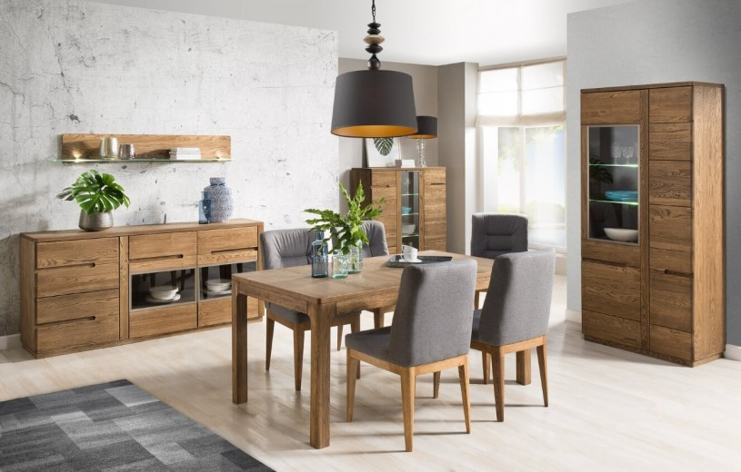 Set de mobila dining din lemn si furnir, 5 piese Negro Oak