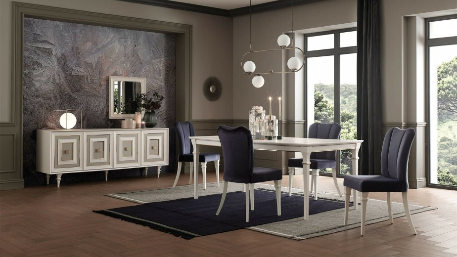 Set de mobila dining din MDF si pal, 7 piese Catherine Ivoir / Auriu