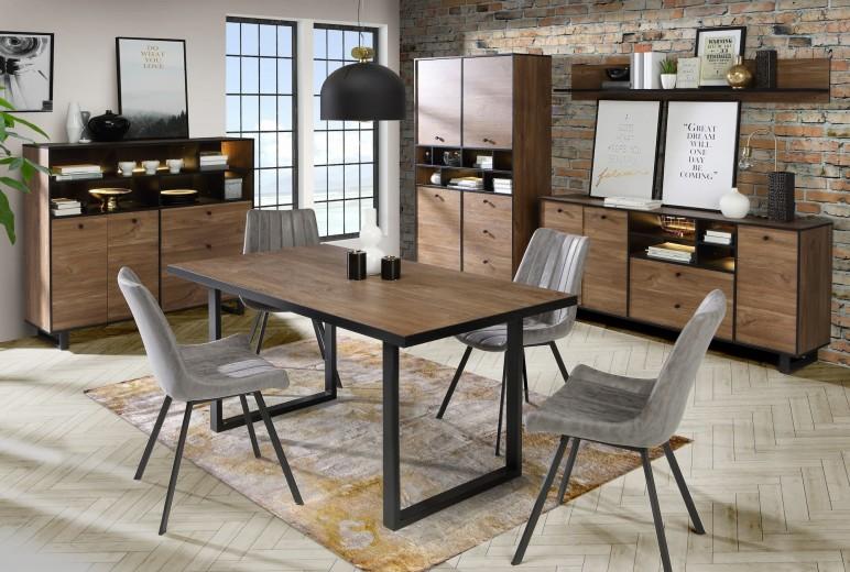 Set de mobila dining din metal si pal, 5 piese Sedna Stejar / Negru