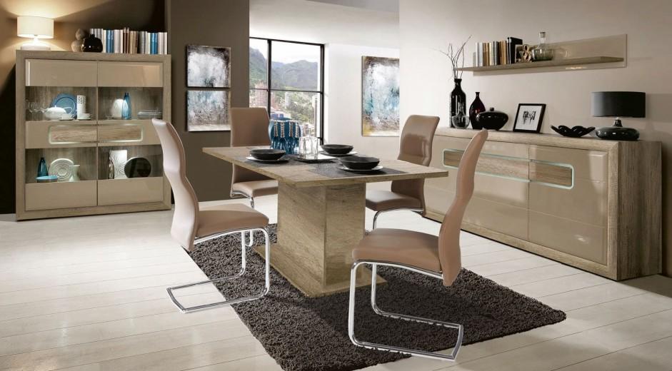 Set de mobila dining din pal, 3 piese Tadita Stejar / Bej