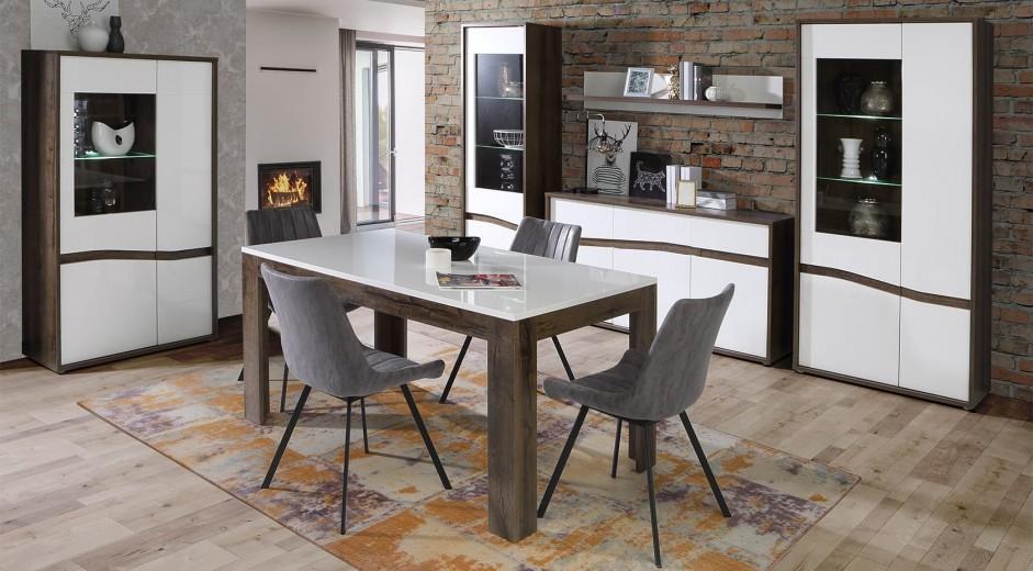 Set de mobila dining din pal, 6 piese Wafi Stejar / Alb