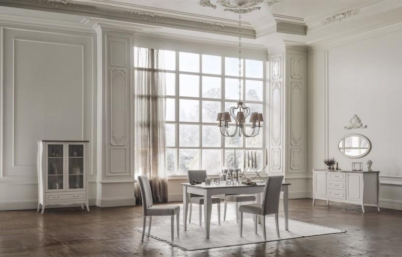 Set de mobila dining din pal, 8 piese Riena Stejar / Alb