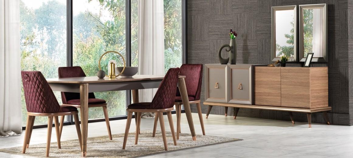 Set de mobila dining din pal, 9 piese Toscana Dore Gri / Natural