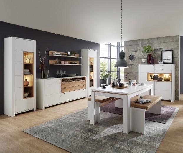 Set de mobila dining din pal si MDF, 9 piese Selina Alb / Natur