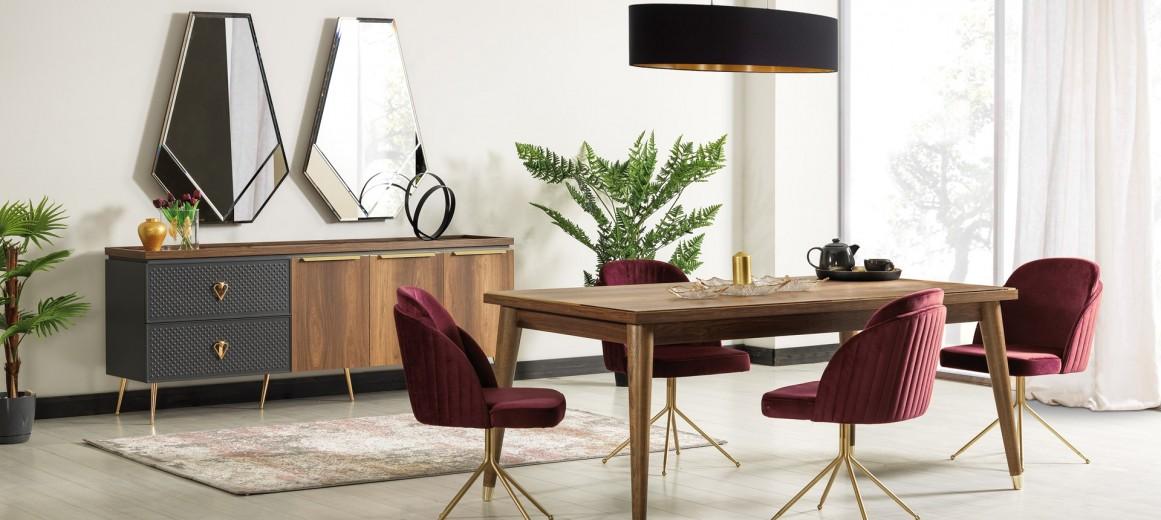 Set de mobila dining din pal si metal, 10 piese Pietro Nuc