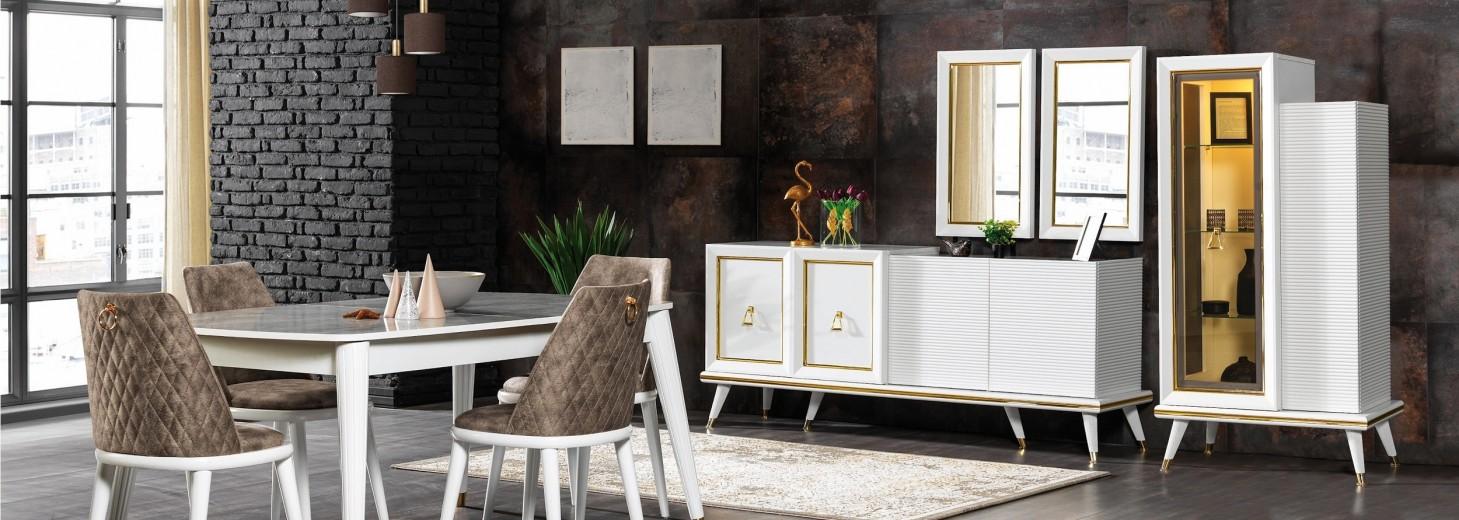 Set de mobila dining din pal si metal, 11 piese Toscana Alb / Auriu