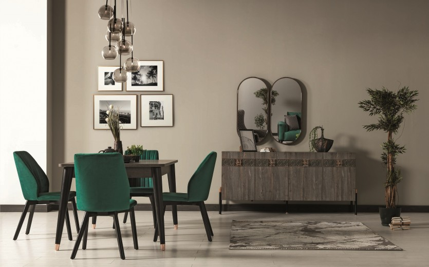 Set de mobila dining din pal si metal, 9 piese Wella Gri / Negru