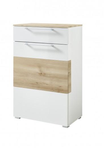 Cabinet hol din MDF, cu 1 usa si 1 sertar, Renos Alb / Fag, l65xA40xH102 cm