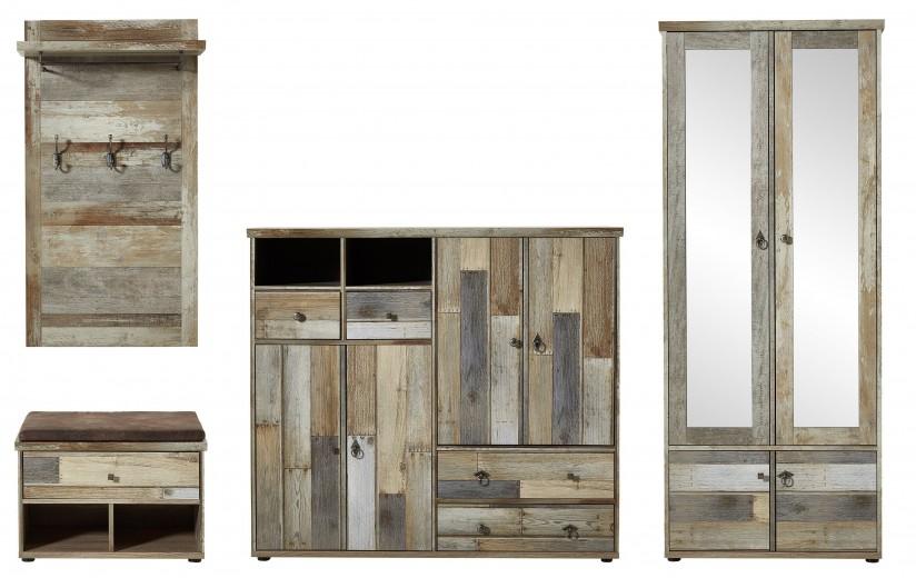 Set de mobila hol din pal, 4 piese Bazna I Natur / Gri inchis