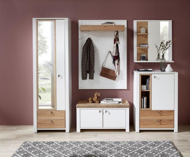 Set de mobila hol din pal si MDF, 5 piese Selina Small Alb / Natur
