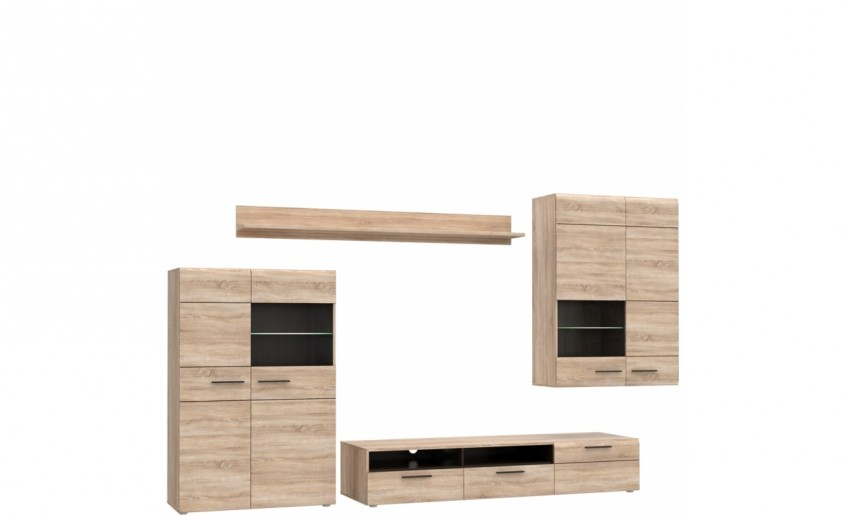 Set de mobila living din pal, 4 piese Combo Small Sonoma Oak